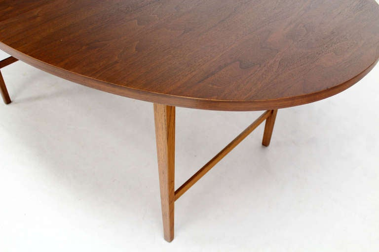 Danish Mid Century Modern Oval Walnut Dining Table with Extension Leaf 8