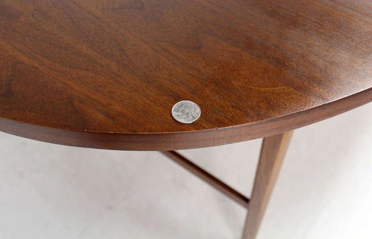 Danish Mid Century Modern Oval Walnut Dining Table with Extension Leaf 3