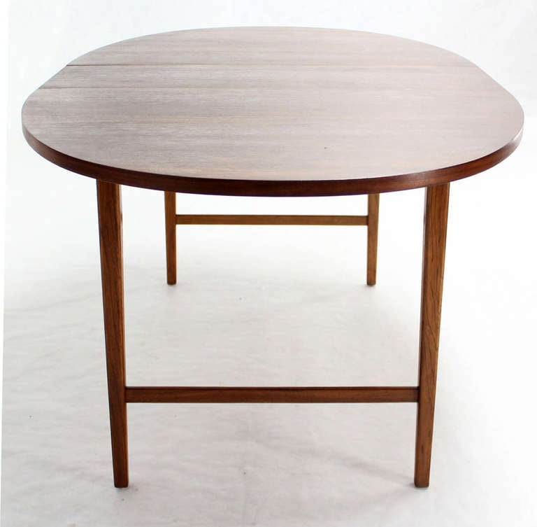 Danish Mid Century Modern Oval Walnut Dining Table with Extension Leaf 4