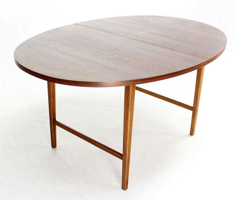 Danish Mid Century Modern Oval Walnut Dining Table With