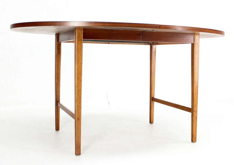 Danish Mid Century Modern Oval Walnut Dining Table with Extension Leaf 7