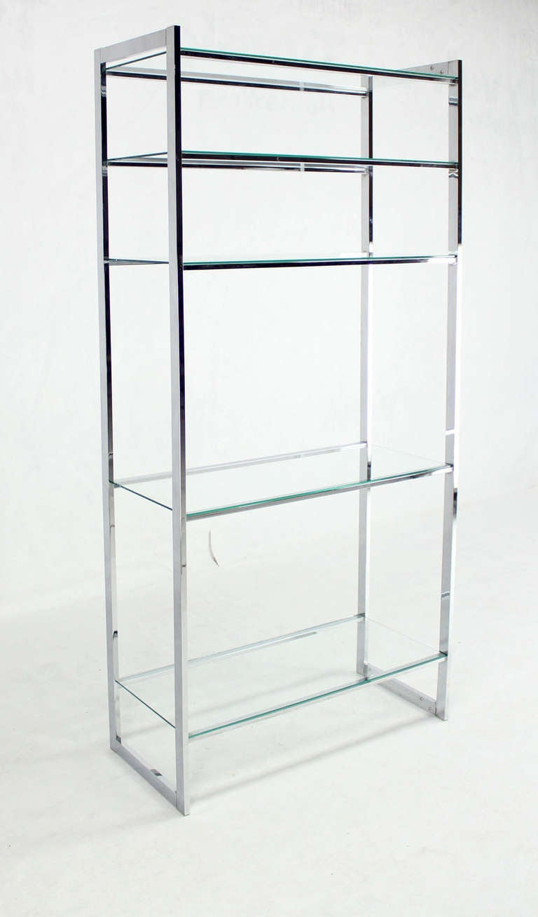 mid century modern chrome and glass etagere milo baughman. Black Bedroom Furniture Sets. Home Design Ideas