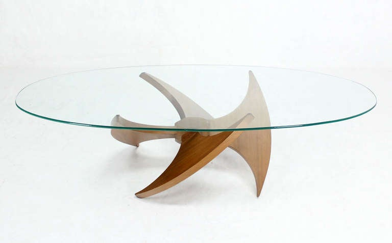 Mid Century Modern Walnut Propeller Base Oval Coffee Table With Glass Top 2