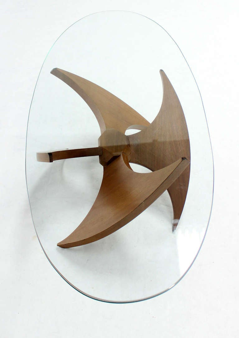 Mid Century Modern Walnut Propeller Base Oval Coffee Table