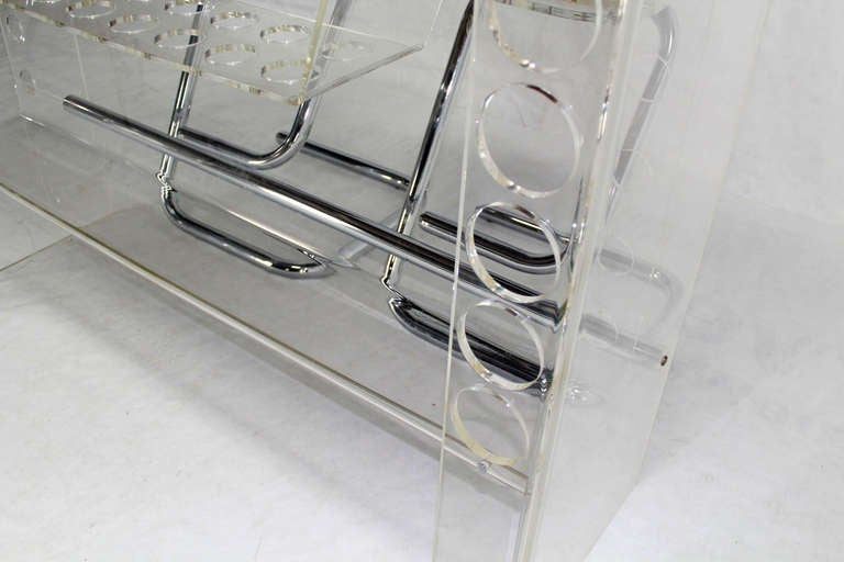 Mid Century Modern Chrome and Lucite Bar with Two Bar Stools In Excellent Condition For Sale In Rockaway, NJ