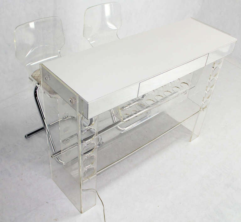 20th Century Mid Century Modern Chrome and Lucite Bar with Two Bar Stools For Sale