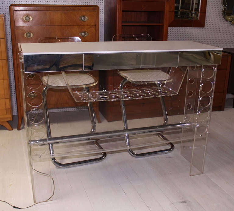 Mid Century Modern Chrome and Lucite Bar with Two Bar Stools For Sale 3