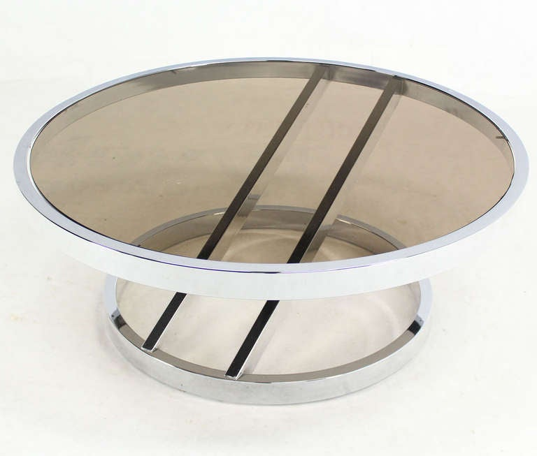 Round Chrome And Smoked Glass Coffee Table Mid Century