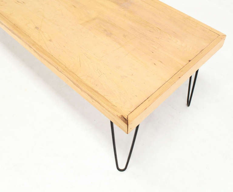 Large rectangle vintage solid birch top hairpin leg coffee for Vintage hairpin table legs