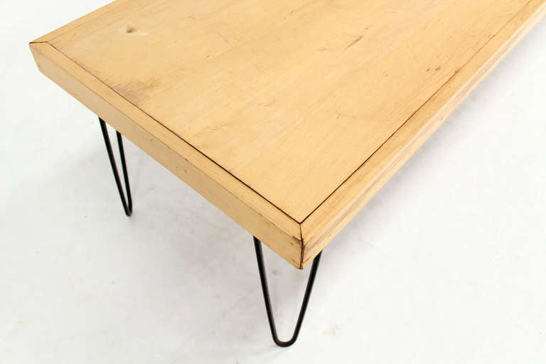 Large Rectangle Vintage Solid Birch Top Hair Pin Leg Coffee Table Mid Century Modern At 1stdibs
