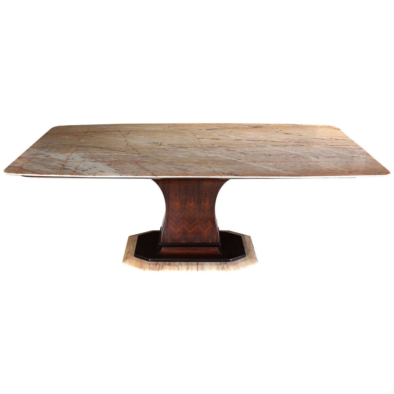 Rosewood pedestal base with marble top boat shape dining for Dining room table pedestal bases