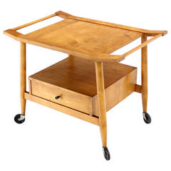 Mid-Century Modern Solid Birch Cart Serving Table