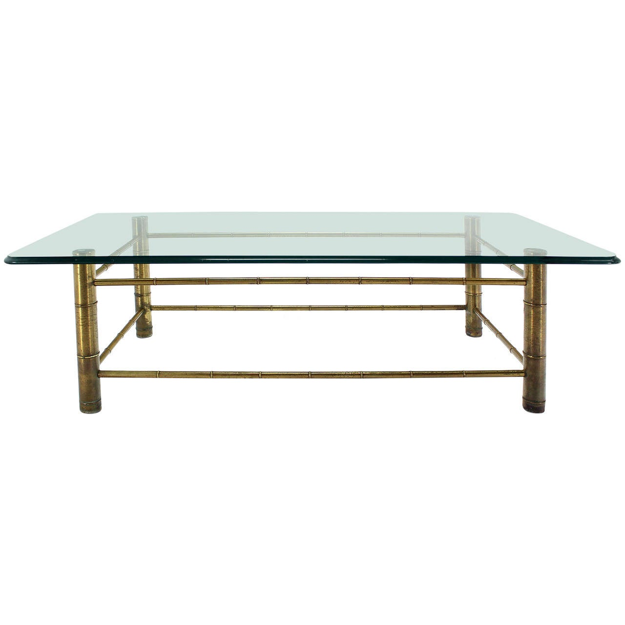 Faux Bamboo Glass-Top Coffee Table, Mid-Century Modern At