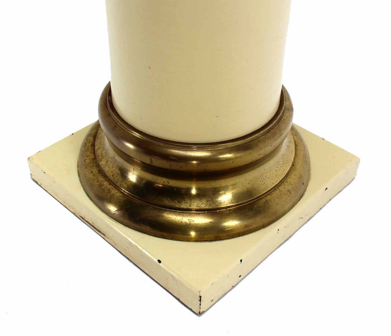 American Pair of Brass and Lacquered Wood Pedestals For Sale