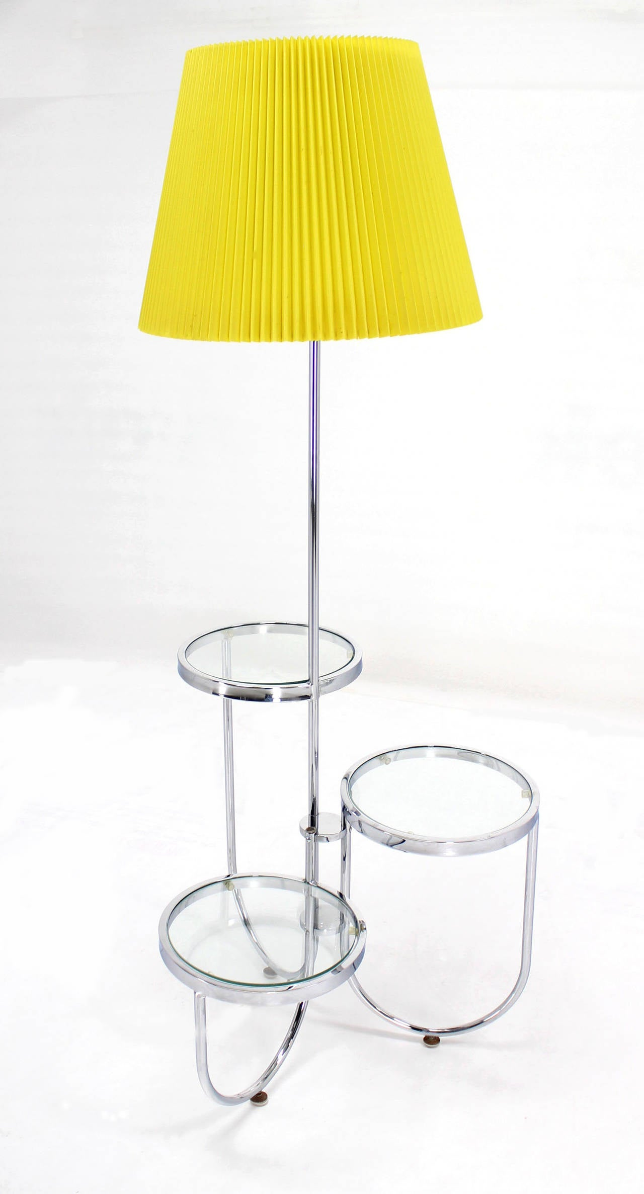 chrome floor lamp with three circular built in stand tables at 1stdibs. Black Bedroom Furniture Sets. Home Design Ideas