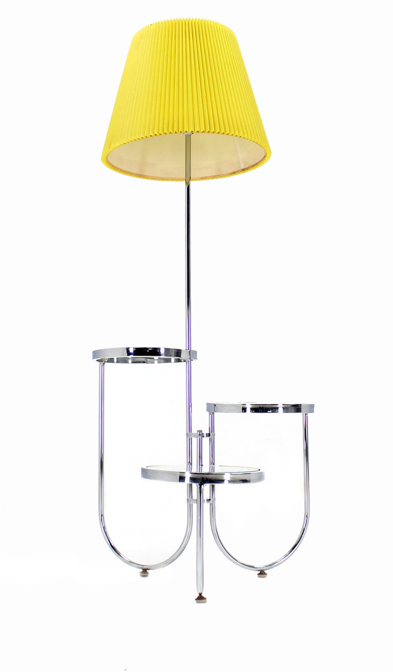 chrome floor lamp with three circular built in stand tables for sale. Black Bedroom Furniture Sets. Home Design Ideas