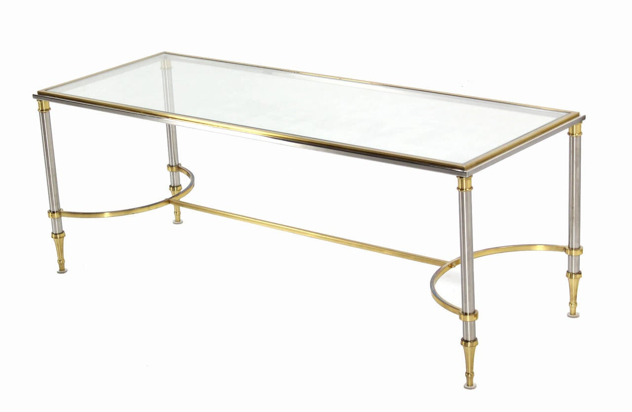Brass chrome and glass low console or coffee table for for Brass and glass coffee table