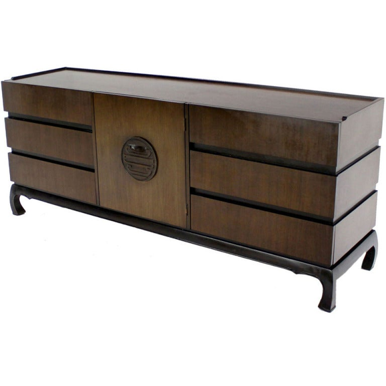 Mid century modern long walnut dresser at 1stdibs