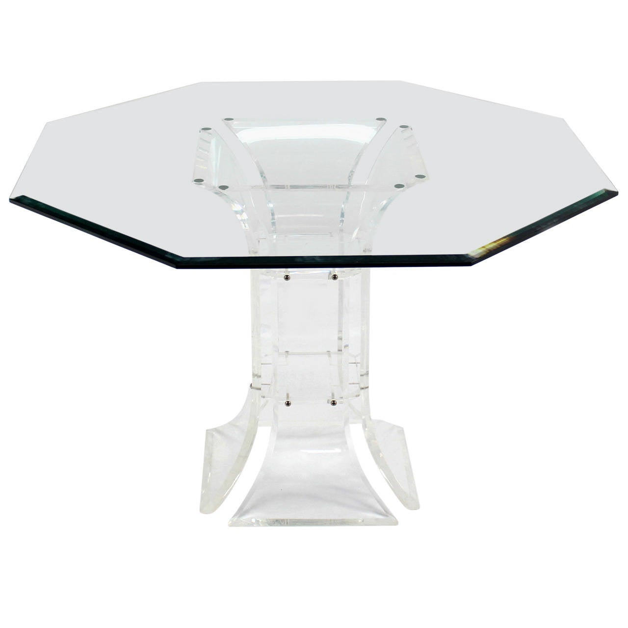 Hexagon glass top and lucite base center table at 1stdibs for Cuir center table basse