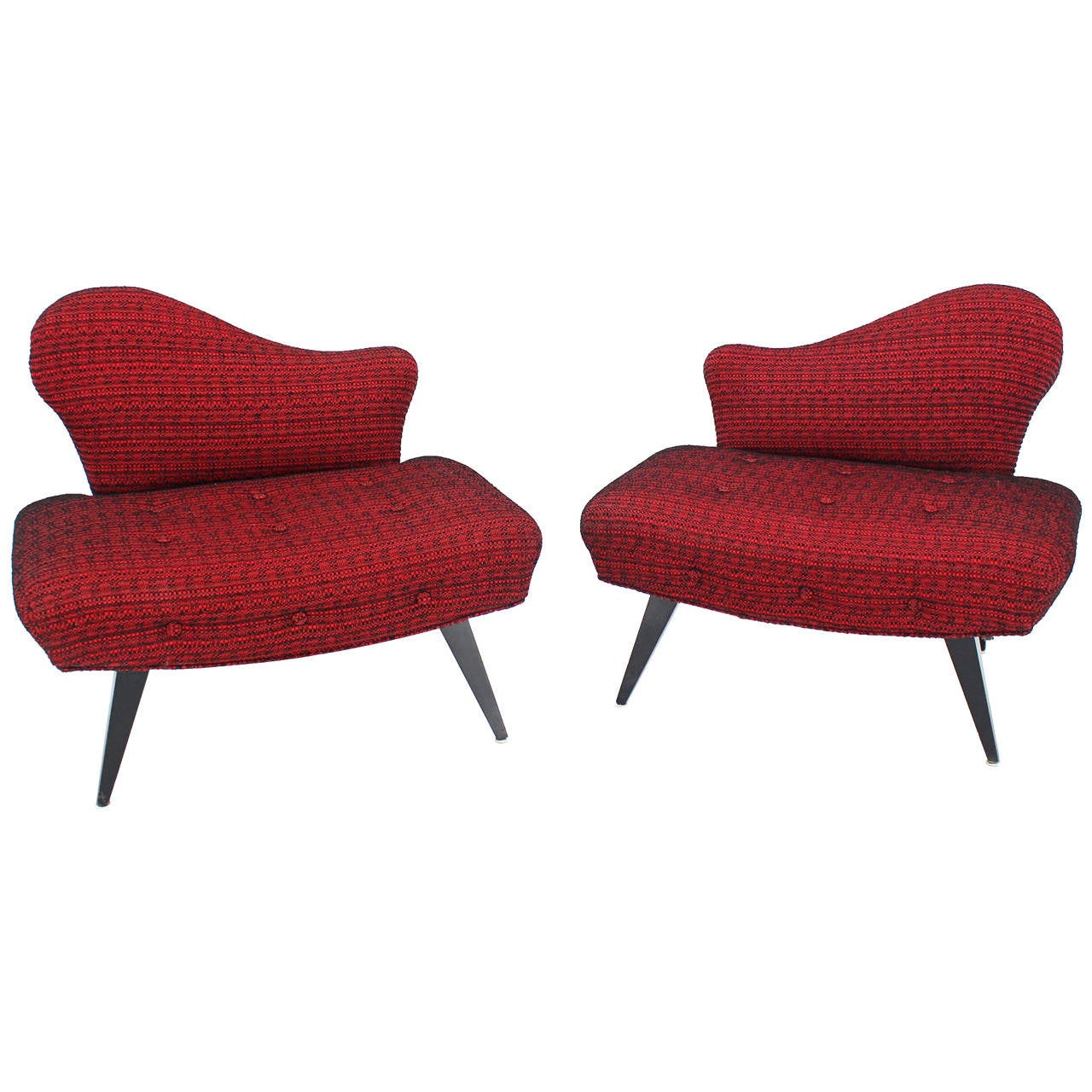 Pair of Fireside Slipper Lounge Chairs