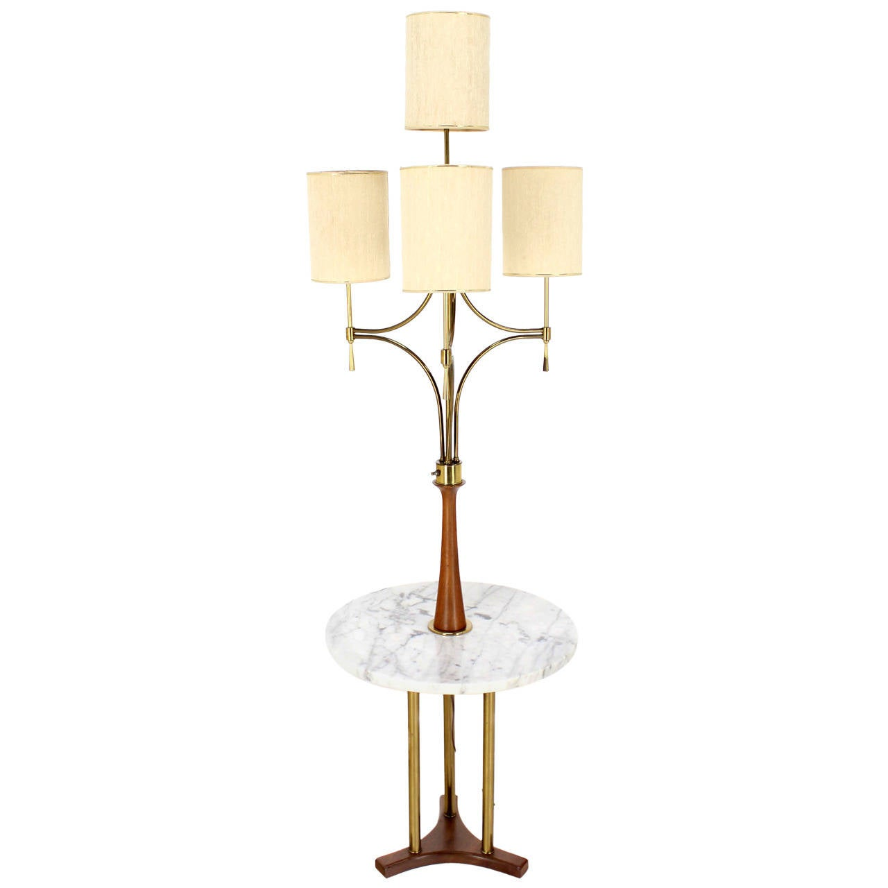 Mid Century Modern Walnut Brass  Floor Lamp with Round Marble Side Table