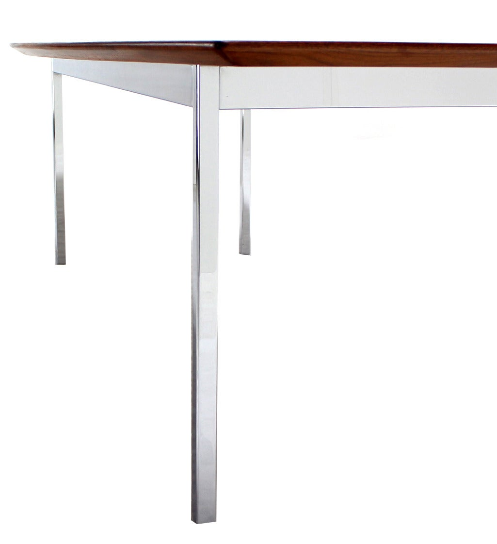 American 8 Feet Long Walnut Boat Shape Dining Conference Table On Chrome  Base Mid Century For