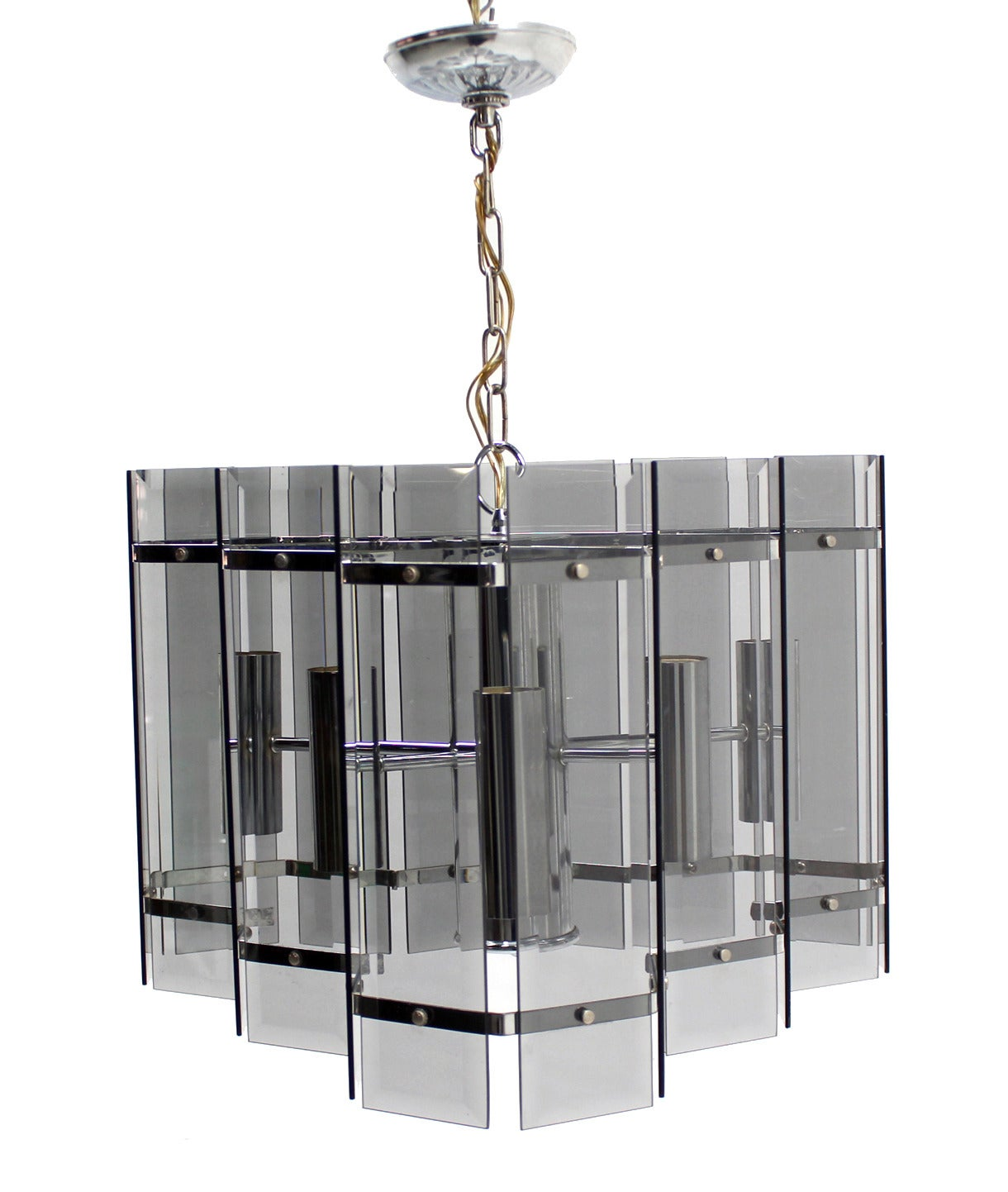 Mid Century Modern Chrome And Smoked Glass Light Fixture Chandelier At 1stdibs