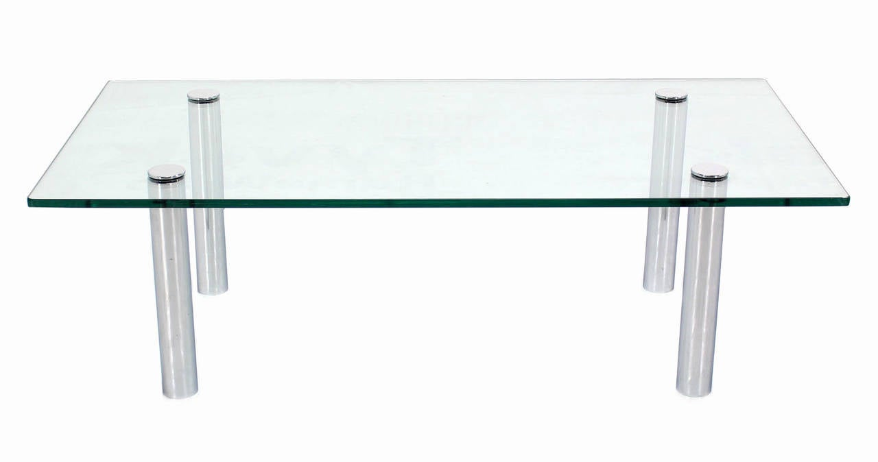 Mid Century Modern Chrome Cylinder Legs Glass Rectangular Coffee Table by Pace In Excellent Condition For Sale In Blairstown, NJ