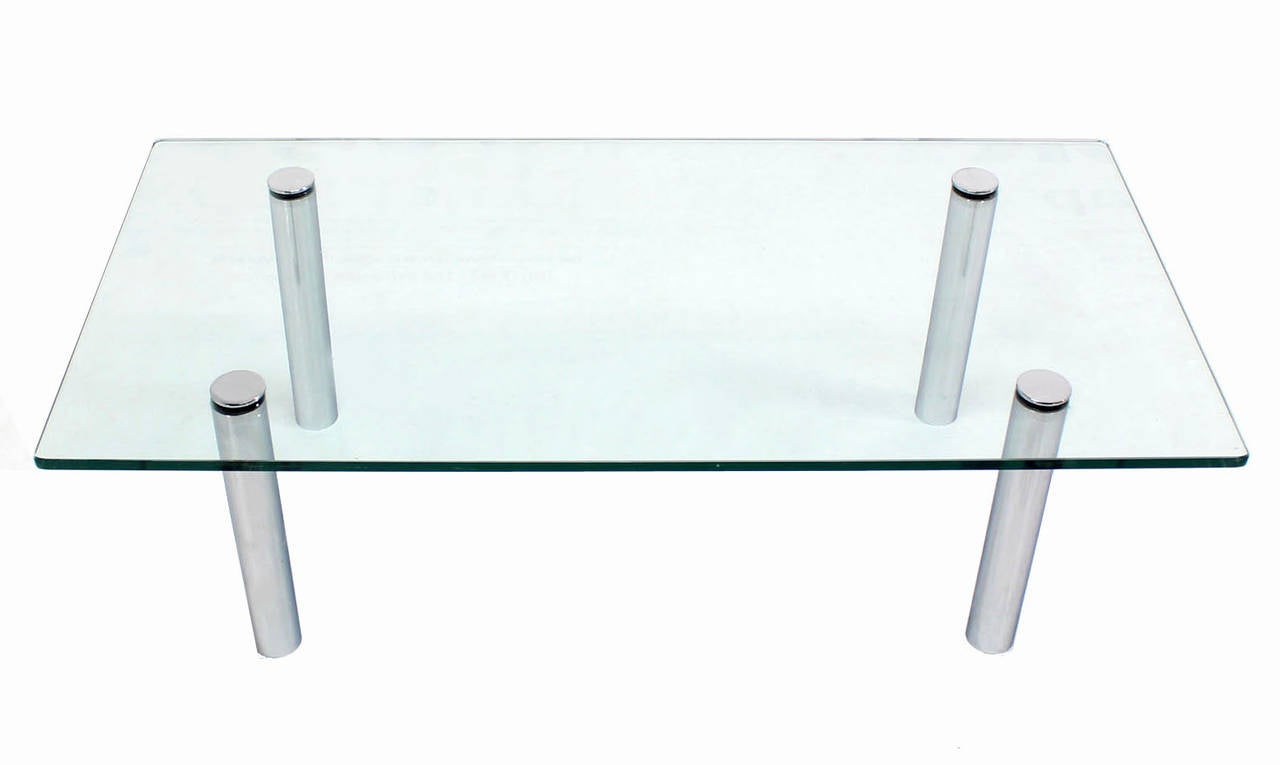 Mid-Century Modern Mid Century Modern Chrome Cylinder Legs Glass Rectangular Coffee Table by Pace For Sale