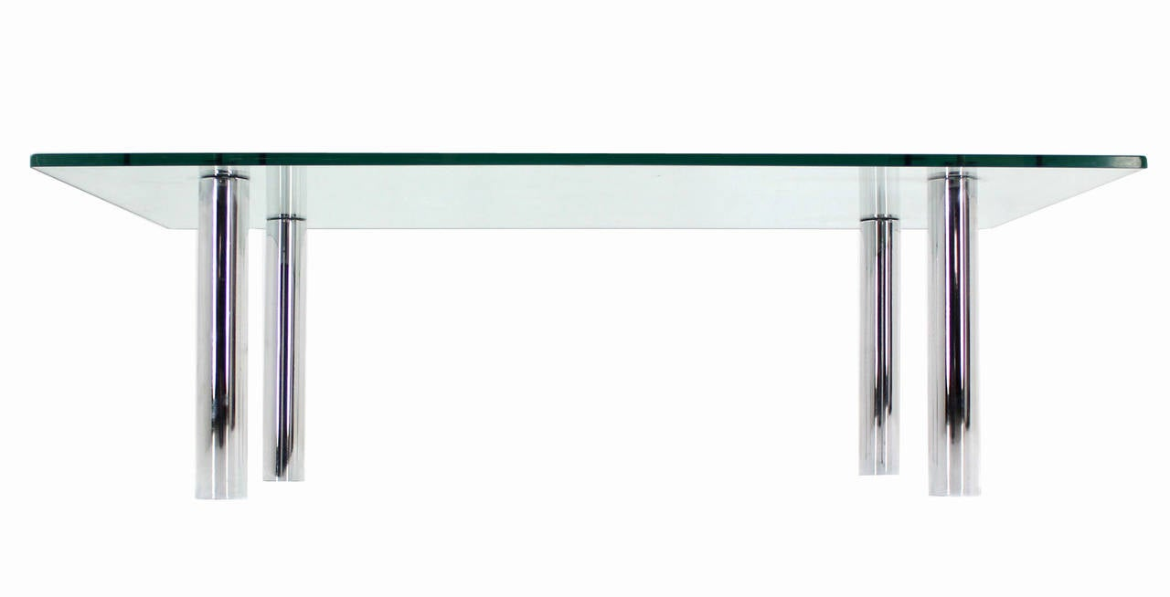 Mid Century Modern Chrome Cylinder Legs Glass Rectangular Coffee Table by Pace For Sale 1