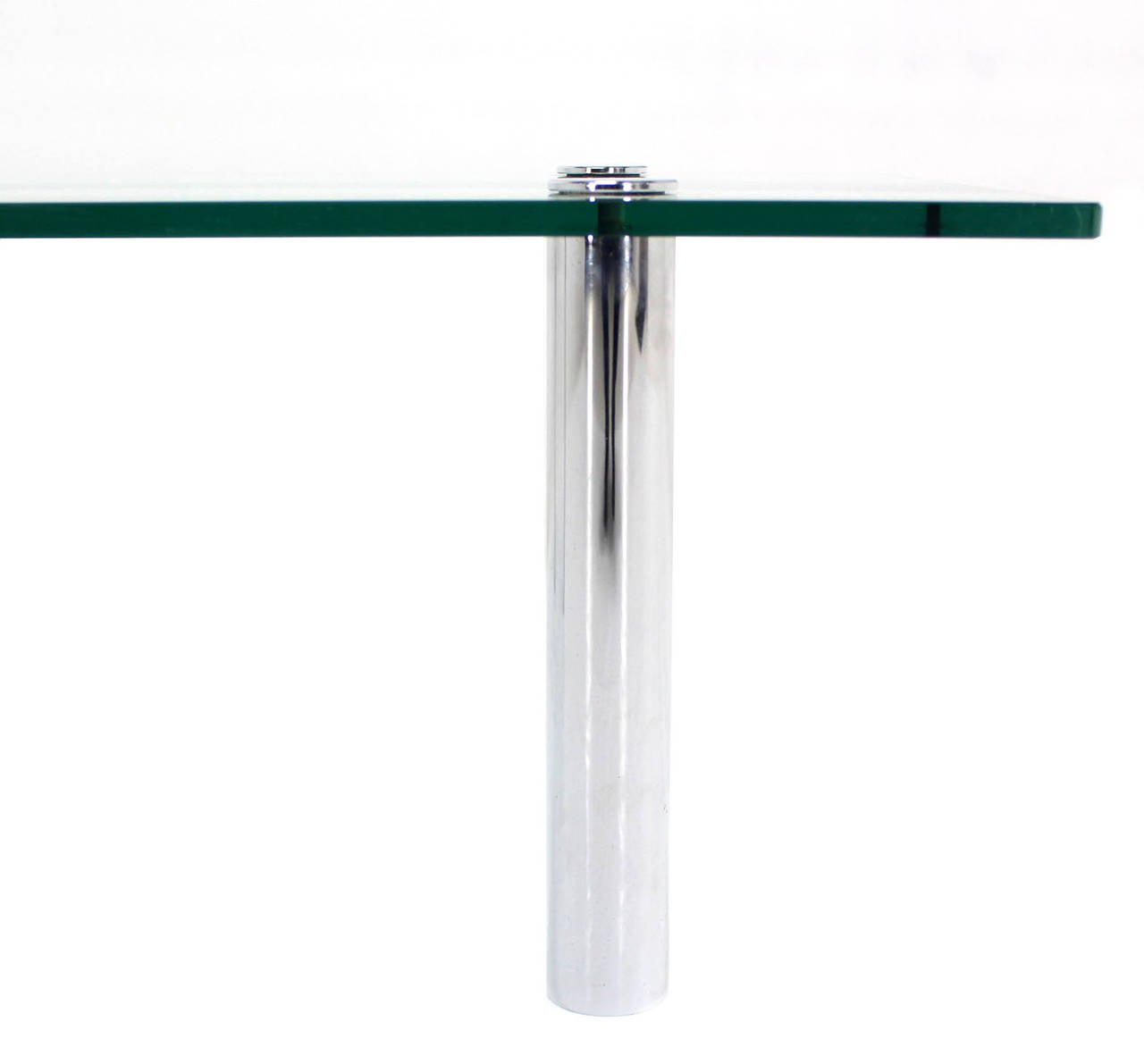 Polished Mid Century Modern Chrome Cylinder Legs Glass Rectangular Coffee Table by Pace For Sale