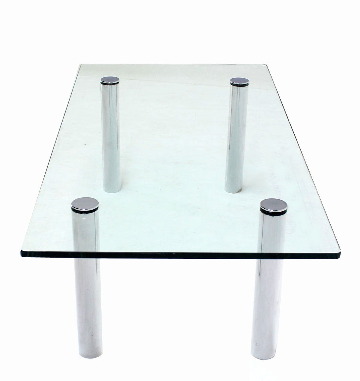 20th Century Mid Century Modern Chrome Cylinder Legs Glass Rectangular Coffee Table by Pace For Sale