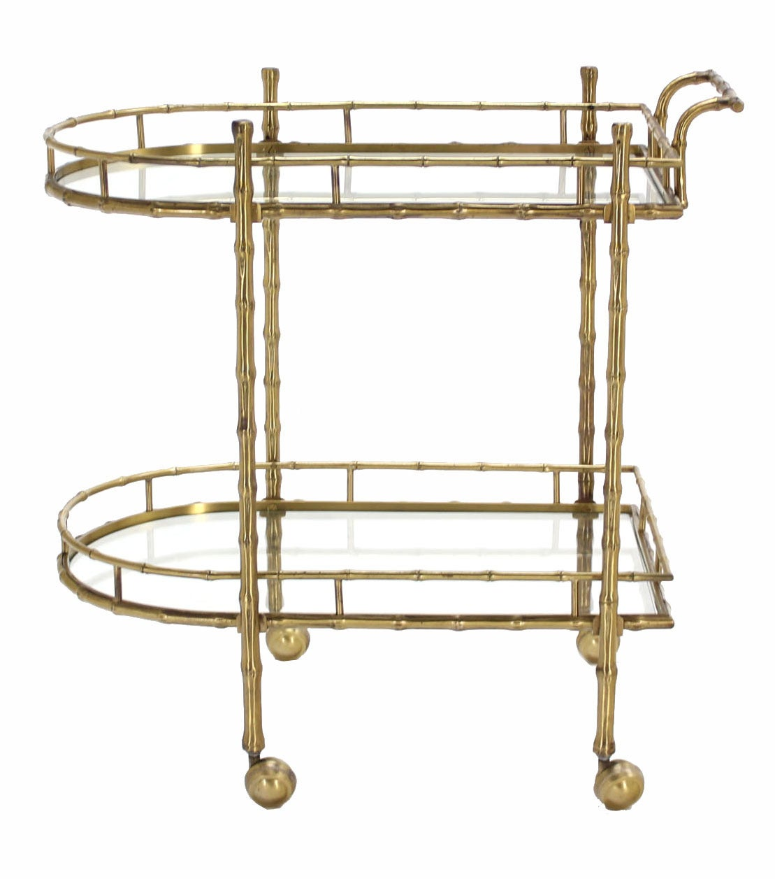 Faux Brass Bamboo Two-Tier Tea Serving Cart 2