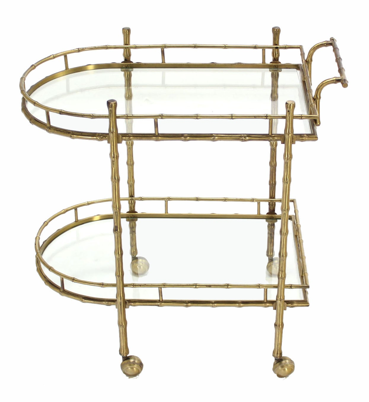 Faux Brass Bamboo Two-Tier Tea Serving Cart 10
