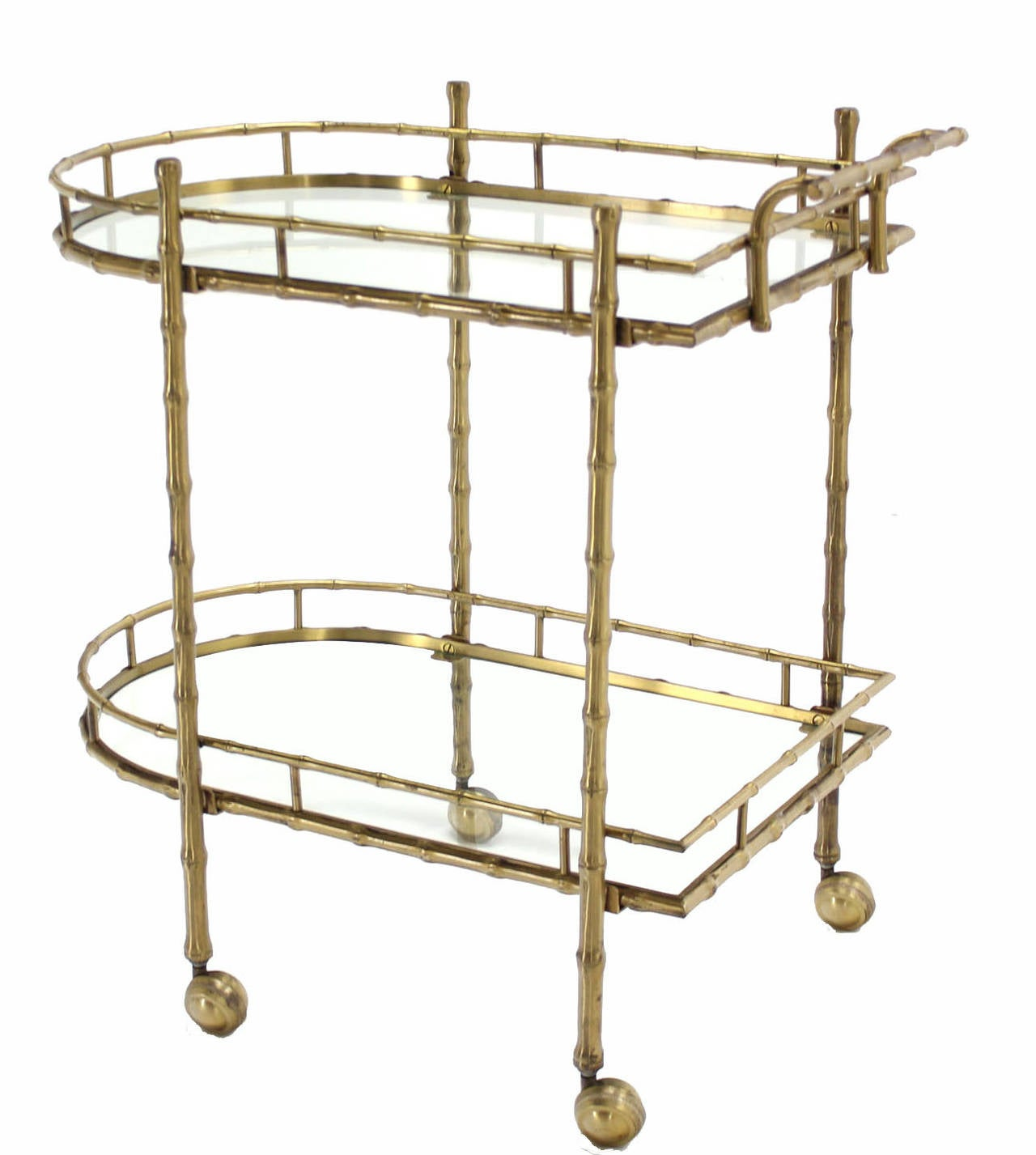 Faux Brass Bamboo Two-Tier Tea Serving Cart 9