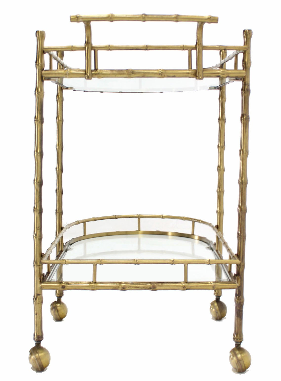 Faux Brass Bamboo Two-Tier Tea Serving Cart 8