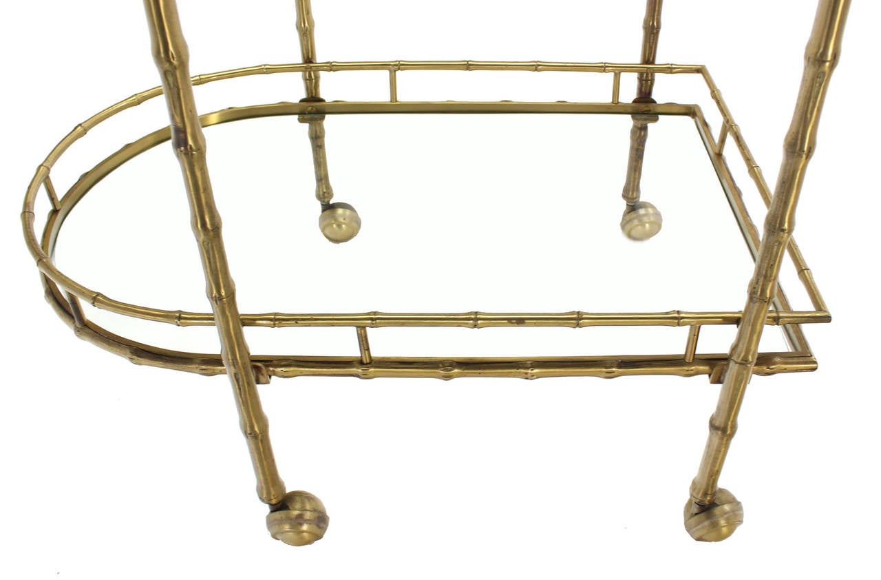 Faux Brass Bamboo Two-Tier Tea Serving Cart 4