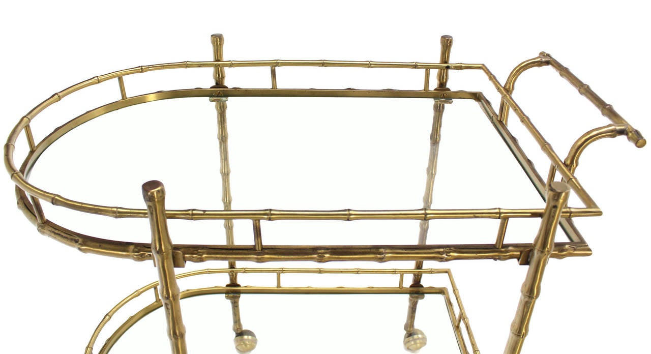 Faux Brass Bamboo Two-Tier Tea Serving Cart 3