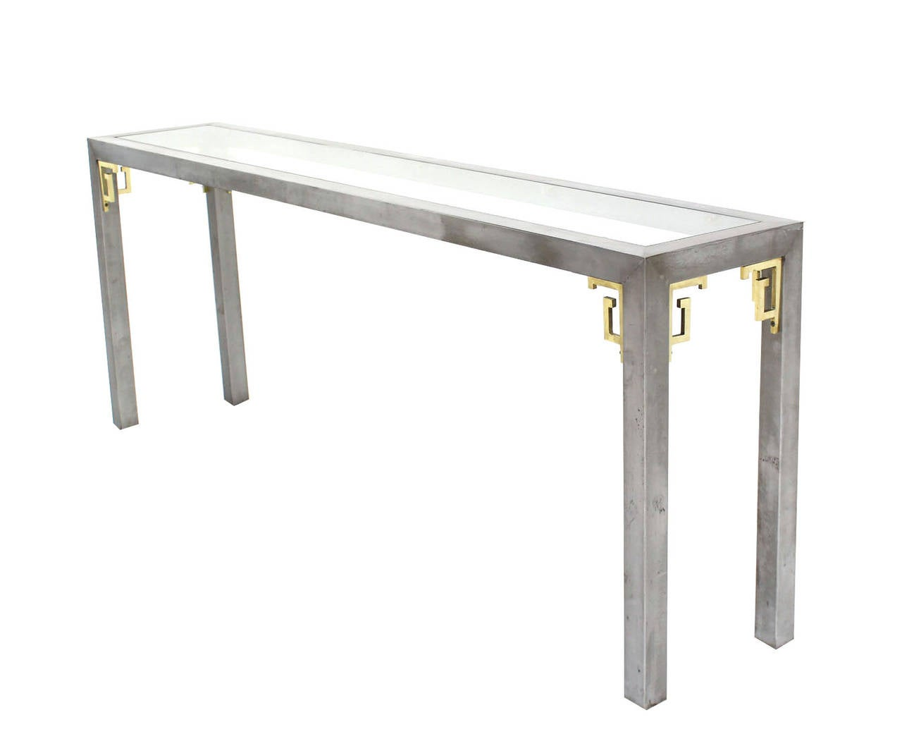 Polished Steel And Brass Mid Century Modern Long Console