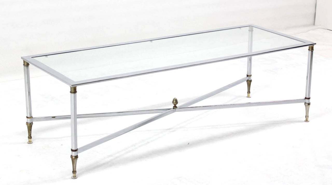 chrome brass x base glass top long rectangle coffee table for sale at 1stdibs. Black Bedroom Furniture Sets. Home Design Ideas