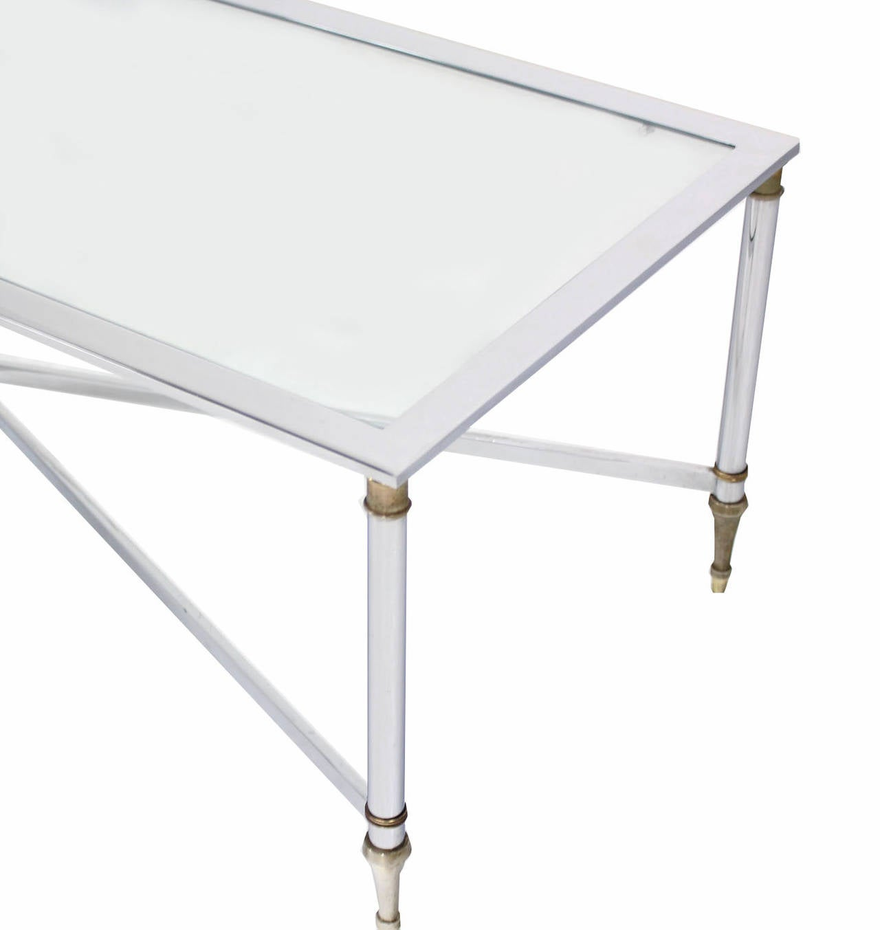 Chrome brass x base glass top rectangular coffee table at for Rectangular coffee table with glass top