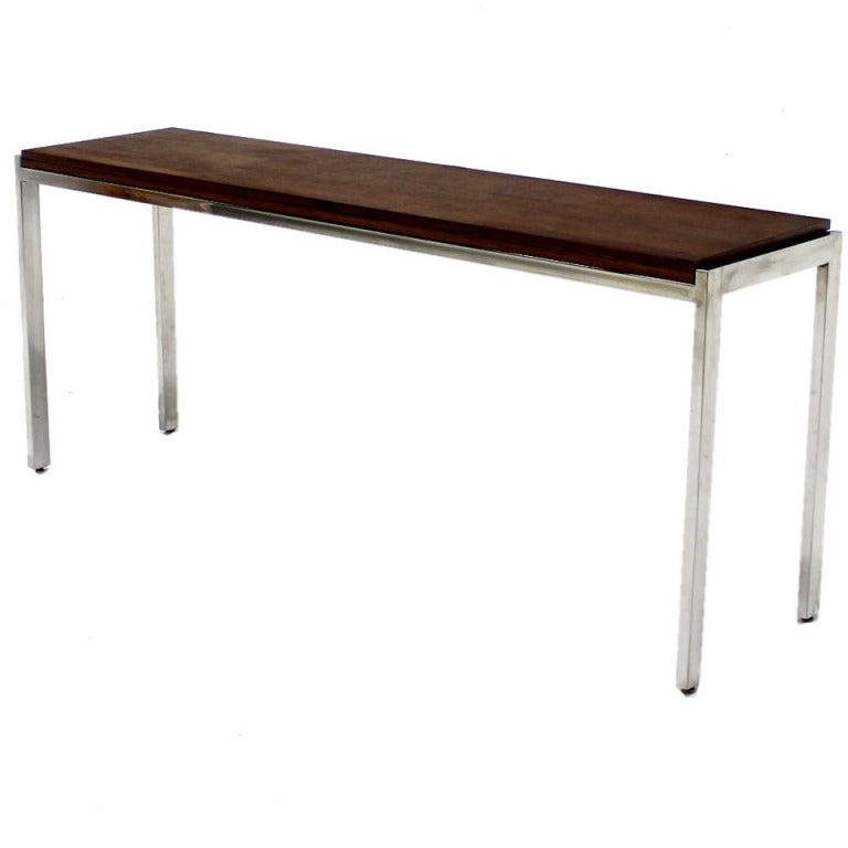 Chrome And Walnut Flip Top Console Dining Table Baughman At 1stdibs
