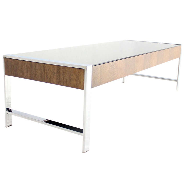 Milo Baughamn Style Mid Century Modern Chrome And Smoked Glass Coffee Table At 1stdibs