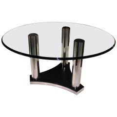 Art Deco Glass Top Round Dining Conference Table Mid Century Modern
