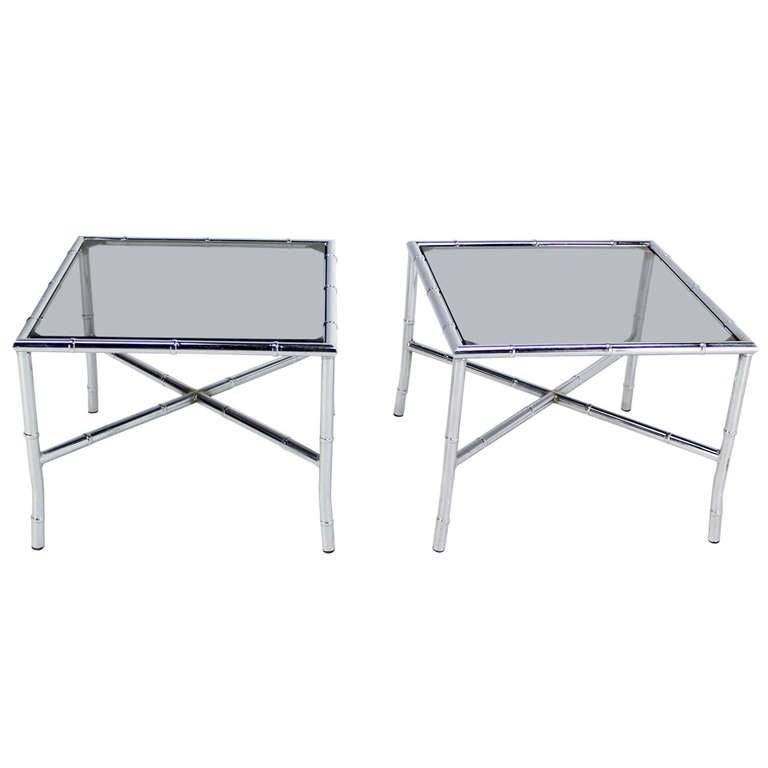 Pair of Chrome Faux Bamboo X Base End Tables with Smoked Glass Tops