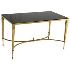 Solid Brass and Granite Top Jensen Style Coffee Side Table