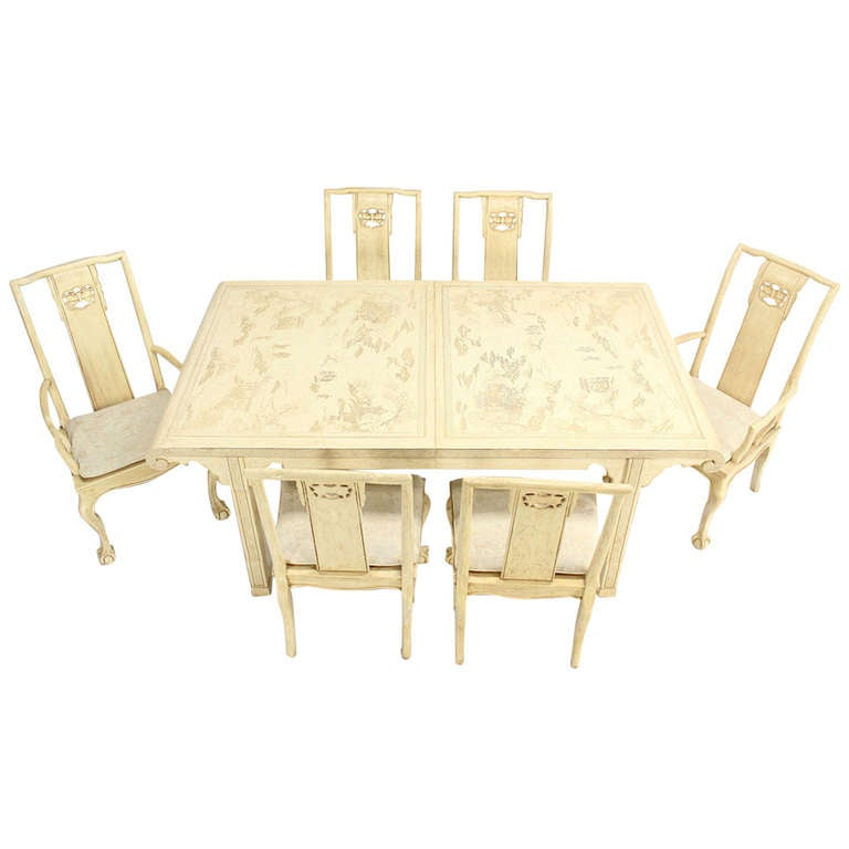 White lacquer oriental modern dining table with six chairs for Six chair dining table set