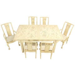 White Lacquer Oriental Modern Dining Table with Six Chairs by Drexel