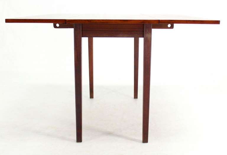 Danish Mid Century Modern Walnut Drop Leaf Dining Or Console Table 3