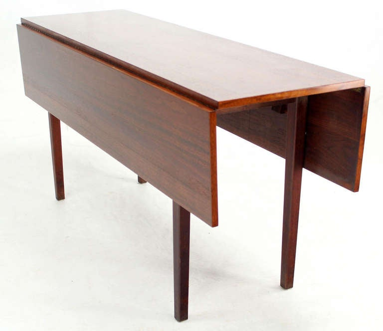 Danish mid century modern walnut drop leaf dining or for How to build a dining room table with leaves